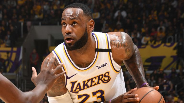 LeBron James eyes the basket against the Pistons