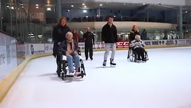 CHD Living sourced wheelchairs that were able to glide on the ice while being pushed