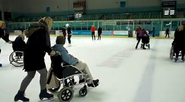 Moving footage shows care home residents going ice skating for the first time in decades