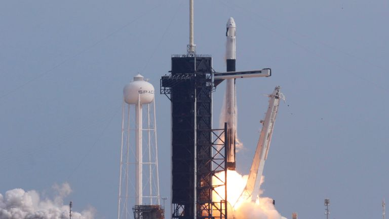 The Falcon 9 rocket was carrying the Dragon crew capsule, which will eventually be carrying astronauts