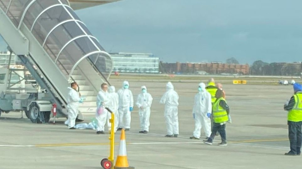 Passengers on United Airlines Flight 901 were told by the captain to remain in their seats after landing at Heathrow Airport on Friday morning because someone might have the contagious infection, which is now named SARS-CoV-2. The flight was met with staff in hazmat suits