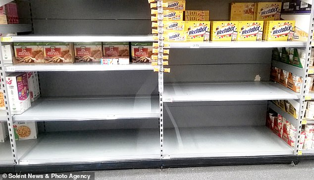 Health Secretary Matt Hancock has said today the government is 'confident' the UK will not run out of food supplies after Britons rush to supermarkets for staples. Pictured, empty shelves in Southampton