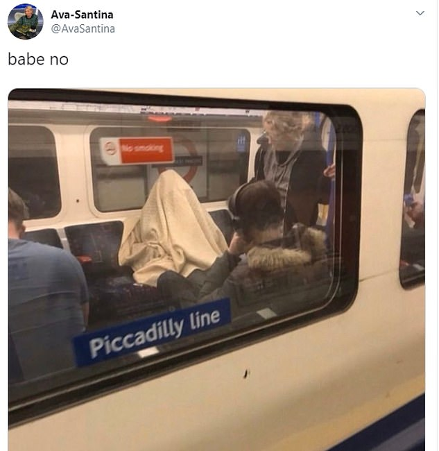 An LBC radio producer photographed a passenger on the London Underground 'protecting' themselves from coronavirus by hiding underneath a quilt