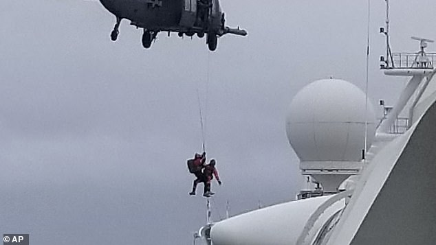 On Thursday, the US Coast Guard airlifted a batch of diagnostic kits to the ship via helicopter, and public health officials said samples collected would be flown back to a San Francisco Bay Area state laboratory for testing